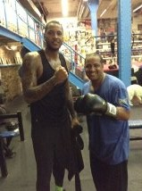 Melo and YoungBiz USA CEO Nick Rodriguez  Boxing Gym, NYC NY